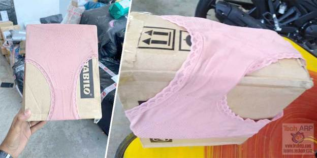 Only In Malaysia : Parcel Wrapped In Underwear!