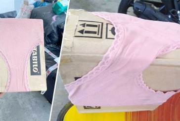 Online Shopping Package Wrapped In Pink Underwear!