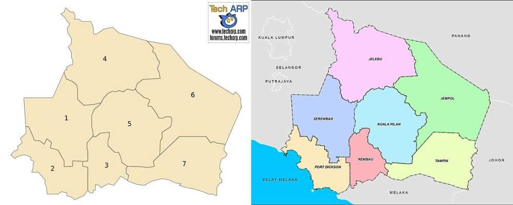 Negeri Sembilan district maps