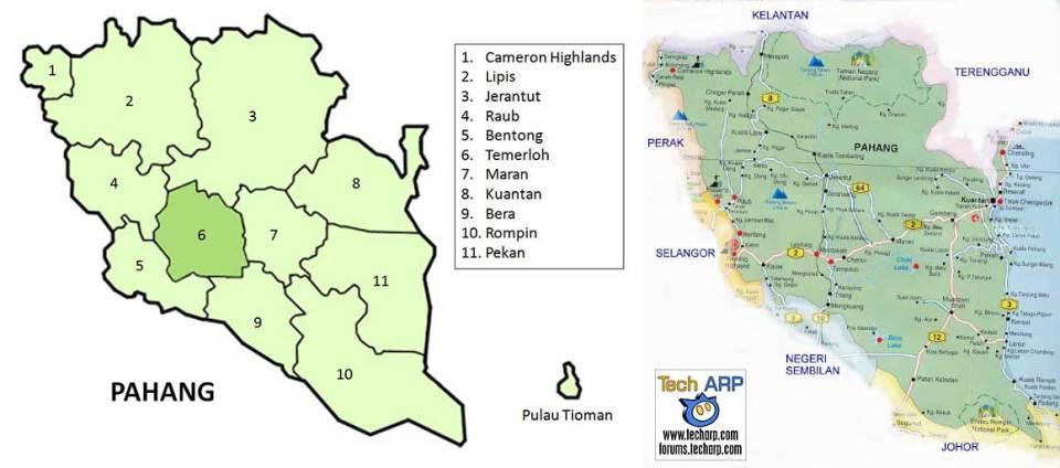 Pahang district maps
