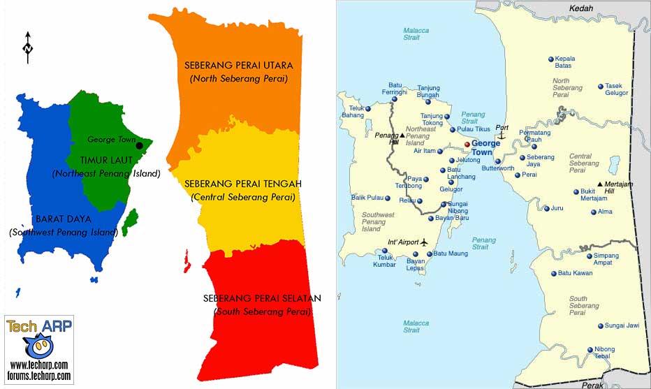 Penang district map