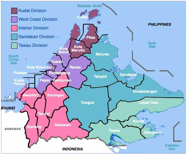 Sabah district map
