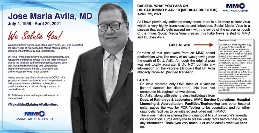 Did Dr. Joey Avila Die From COVID-19 After Sinovac Dose 2?