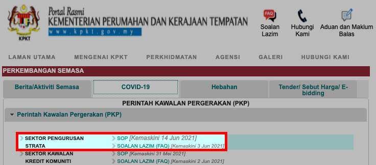 KPKT latest SOP and FAQ 18 June 2021