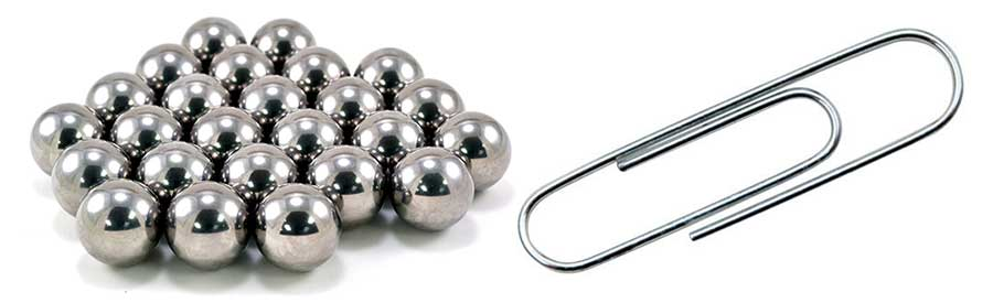 Ball bearings and paper clip
