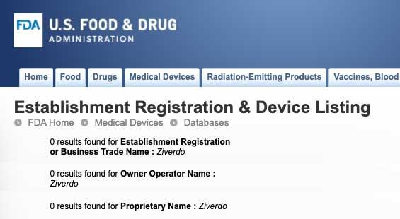 Ziverdo Kit US FDA search results