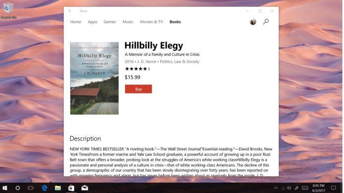 Windows 10 Creators Update Purchase Books Screen