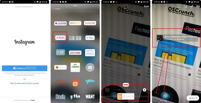 enable instagram music feature in any country