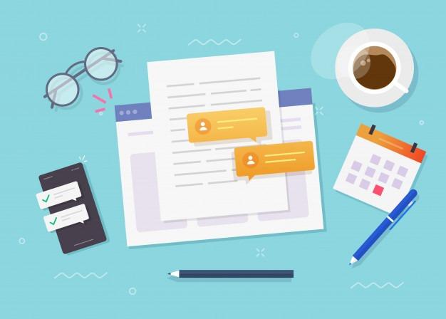 Writing content paper document online on website Premium Vector