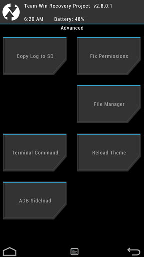 twrp recovery advanced tab