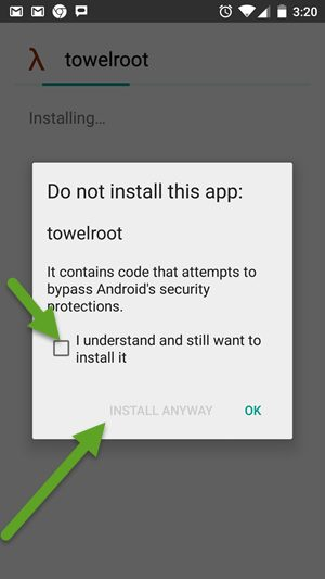 Towelroot Install Warning Message