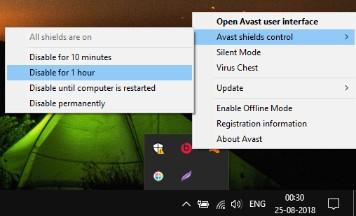 Disabling Avast Antivirus - Fix Error DNS_PROBE_FINISHED_NXDOMAIN in Google Chrome