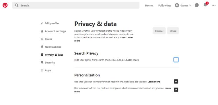Search Privacy off