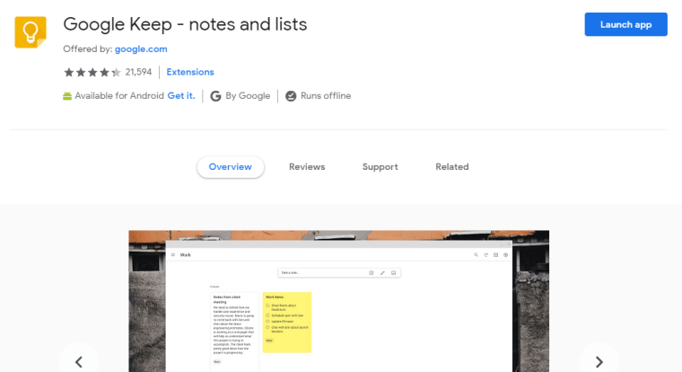 Google Keep - best Google Chrome extensions for creatives