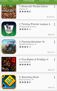 Paid Google PlayStore Apps Naira