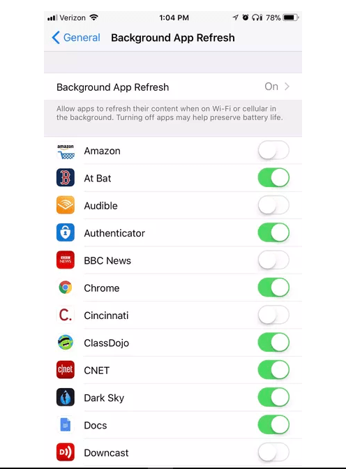 iPhone background app refresh settings