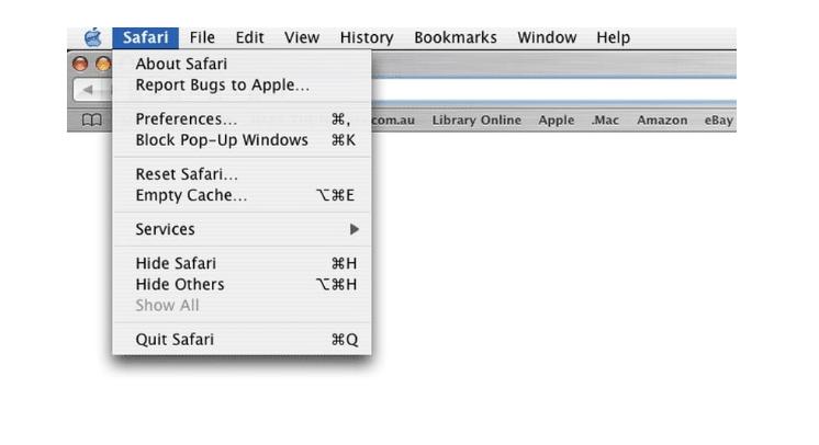Safari browser menu