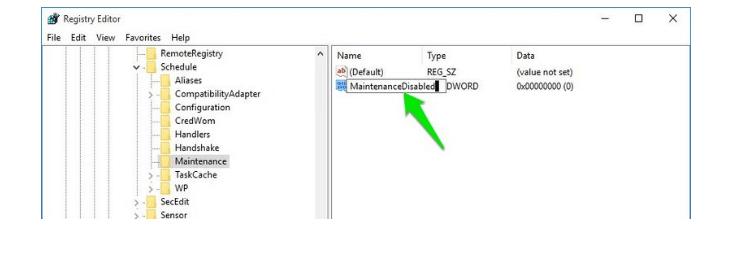 Windows Automatic Maintenance Disabled