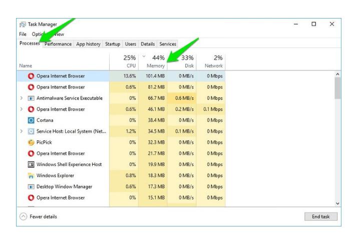 fix windows 10 memory leak via Task Manager Software