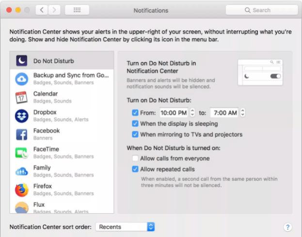 Macos do not disturb settings