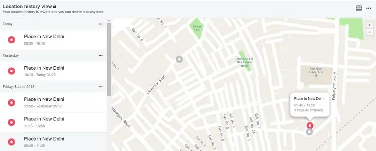 Facebook view location map