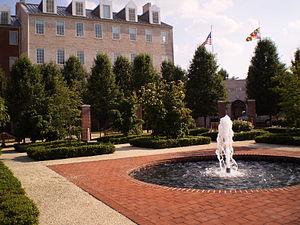 Fountain in front of the Riggs Alumni Center o...