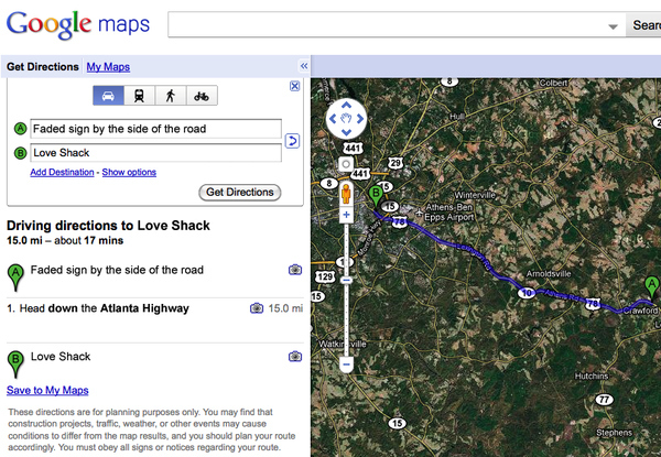 """Google Maps Quotes: """"Love Shack"""" by The B-52's"""