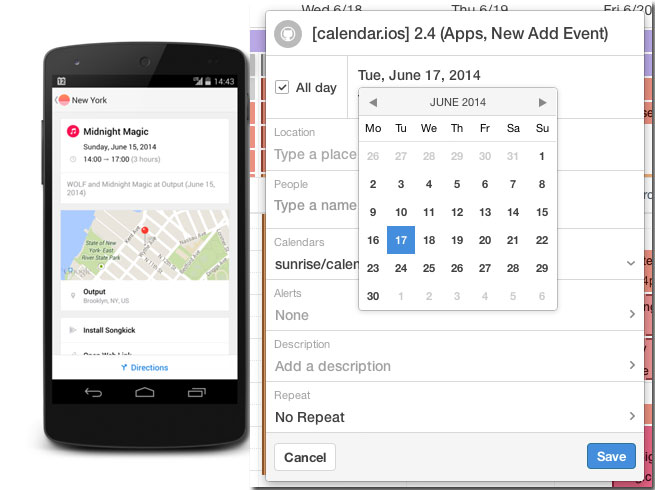 Integrate other apps to your calendar via Sunrise