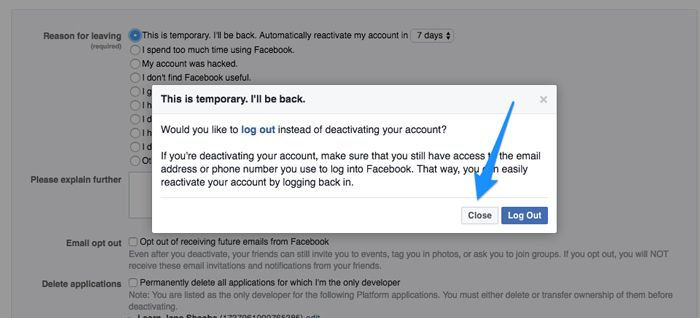 Deactivate-Facebook-account