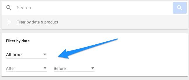 google my activity filter