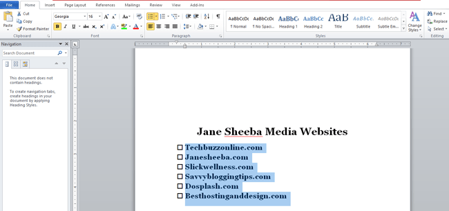 Creating a printable checklist in Word-bulleting1