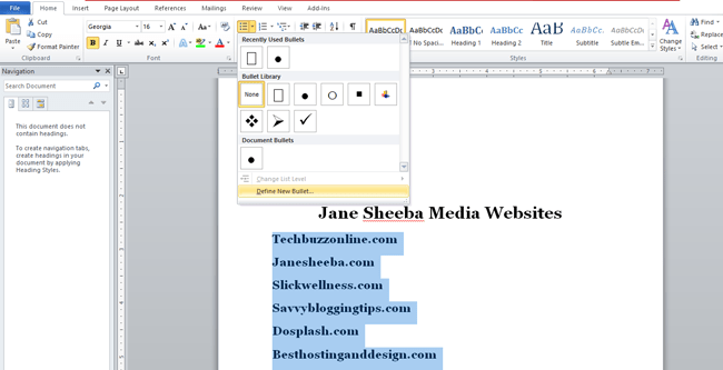 Creating a printable checklist in Word-define new bullet