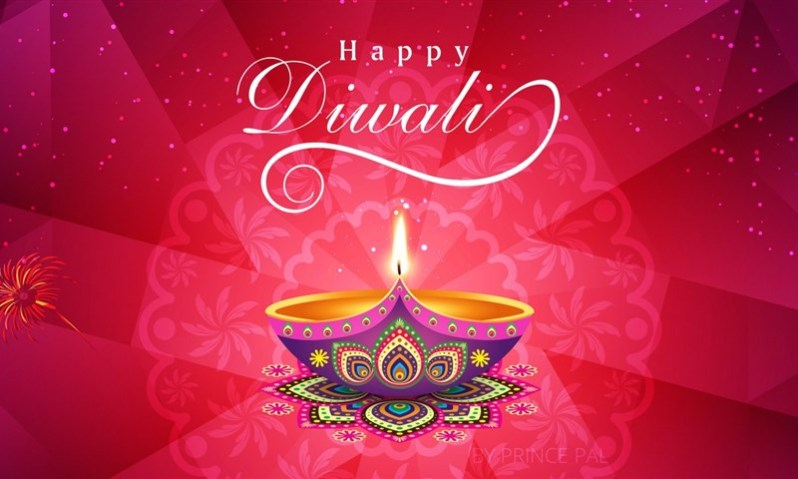 Diwali 4K Wallpaper with Printed Diya