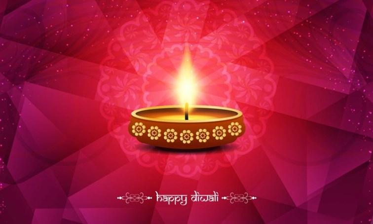 Beautiful Diwali Background with Earthen Lamp