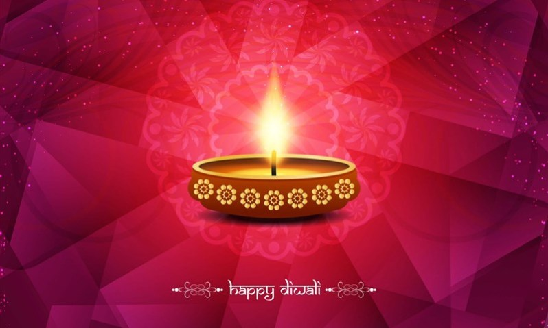 Beautiful Diwali Background with Earthen Lamp