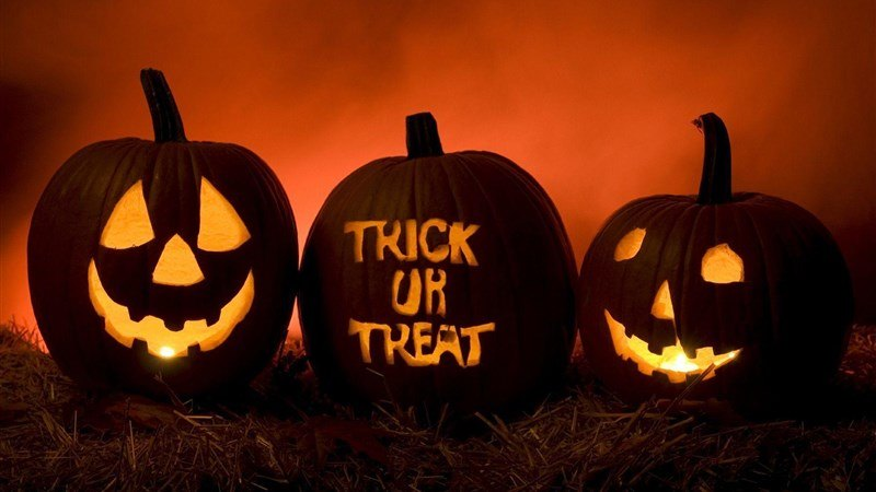 Trick or Treat Carved in Pumpkin