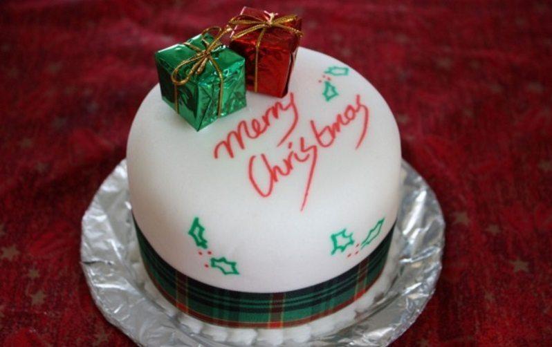 Traditional Christmas Cake and Gifts