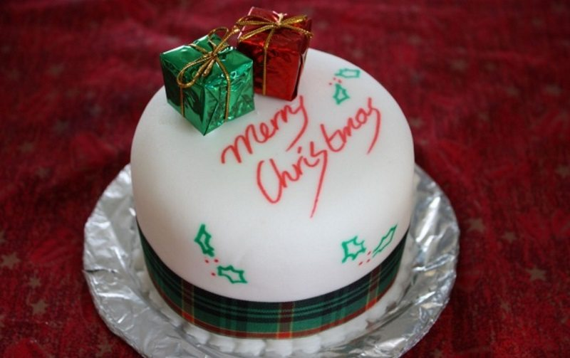 Traditional Christmas Cake and Gifts
