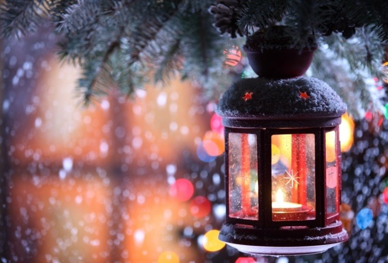 Snowflakes and Candle Torch Wallpaper