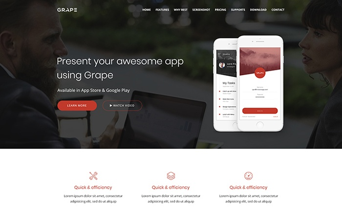 GRAPE - App Landing WordPress Theme