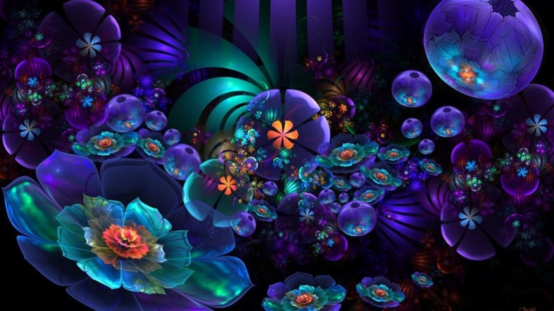 49 Artistic Flower Abstract Neon Blue Purple Wallpaper