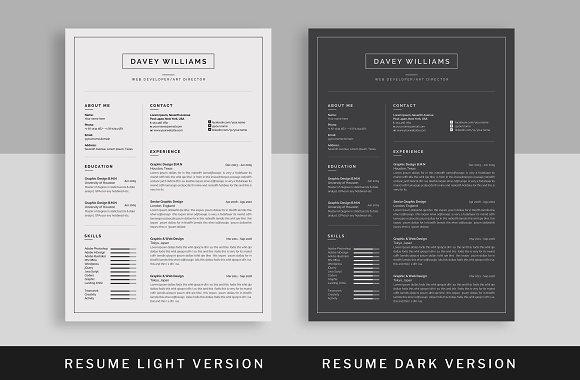 30 resume template light and dark version
