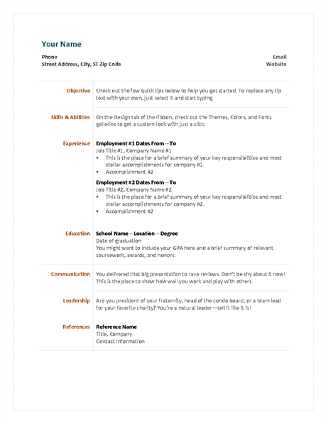 33 ms word functional resume