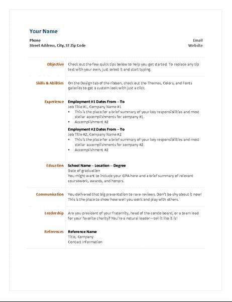 33 ms word functional resume
