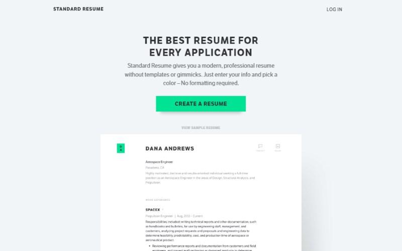 5 standared resume builder