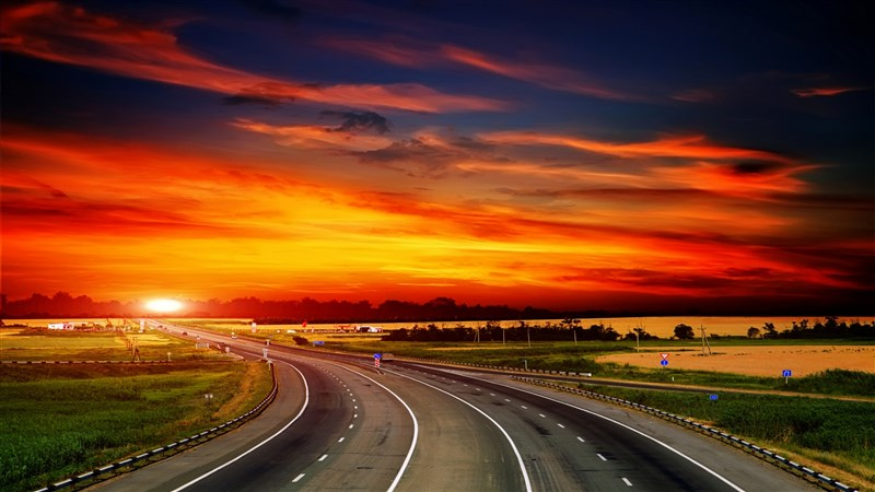 Highway Sunset Nature Background