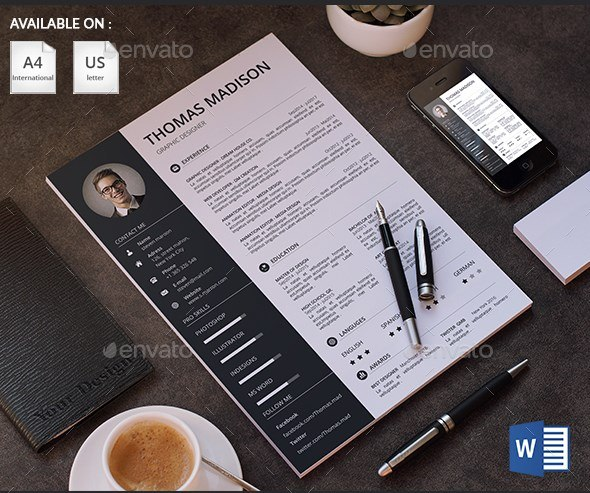 9 clean reasume and cv with business card