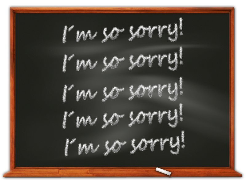Several Times I am So Sorry on Black Board