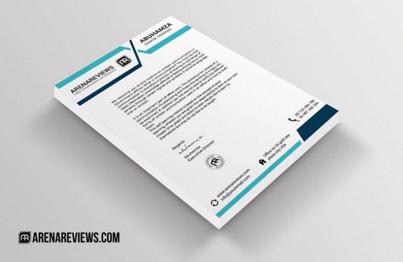 Free Letterhead Template Blue Turquoise Design