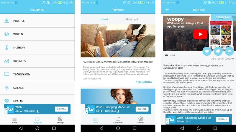 YouNews Android Universal News App Template